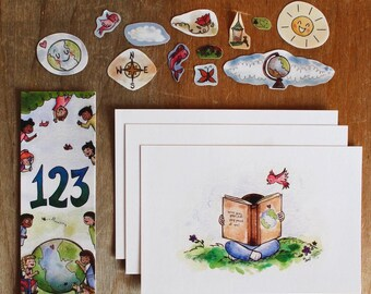 123 A Whole World to See Book Pack/Cute Stickers/Mini Sticker/Cute Stickers/Kindergarten Gifts/Bookmark/Postcards/Back to School Gifts/Art