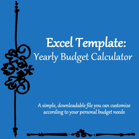 yearly monthly budget calculator excel spreadsheet template etsy