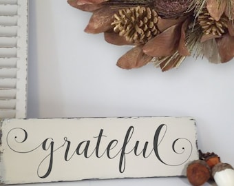 Grateful Wall Art, Distressed Wood Sign, Thanksgiving Decor, Hand Painted Art, Grateful Sign For Kitchen, Fireplace Mantle Decor