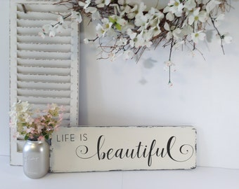 Rustic Wood Sign, Farmhouse Rustic Sign, Life Is Beautiful Sign, Wood Life is Beautiful