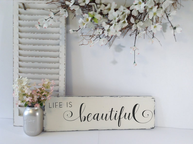 Life Is Beautiful Sign Farmhouse Style Wall Decor Rustic Etsy