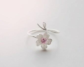 Pink flower ring etsy purple flower rng silver ring pink flower ring dainty ring rose ring blossom flower ring adjustable ring cherry ring sakura ring thin ring mightylinksfo
