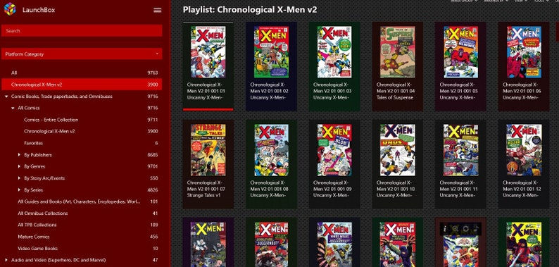 LaunchBox Comics Edition Chronological Xmen 10,000 digital comics organized  w/ front cover and by genre/series