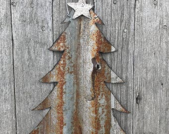 small tin christmas tree christmas tree wall hanging tin christmas tree metal christmas decor vintage christmas tree rustic christmas - Small Metal Christmas Tree