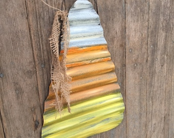 "14"" tall rustic tin candy corn fall decor, rustic fall wall decor, rustic tin candy corn decor, rustic fall decor,"