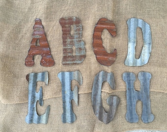 8 inch corrugated tin letters, rusty letters, rustic letters, rustic decor, metal letters, tin letters, corrugated letters,