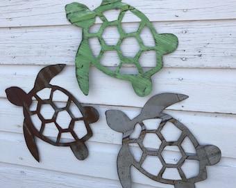 handmade tin sea turtle wall hanging / nautical bath decor / beach house decor / lake house decor