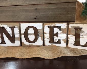 noel barnwood sign / Christmas mantel decor / rustic tin Christmas decor / barnwood Christmas decor