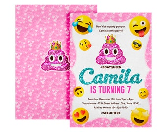 Poop Emoji Invitation Birthday Dont Be A Party Pooper