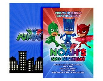 Pj Mask Birthday Invitation Invitations Party DIY