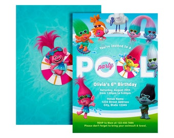 Trolls Pool Party Invitation Birthday Digital