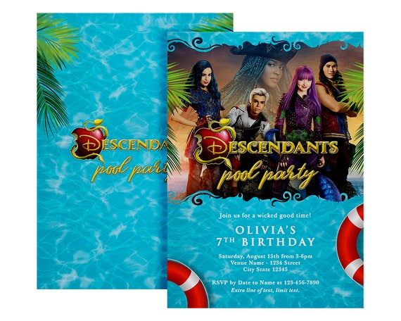 Disney Descendants Pool Party Invitation