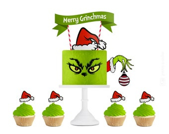 Christmas Party, Grinch Party, Cake Topper, Christmas Party Decorations, Christmas Party Cake Topper, Christmas Cake, Christmas Toppers