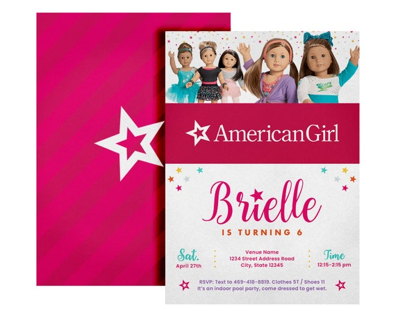 American Doll Girl Birthday Party Invitation Etsy