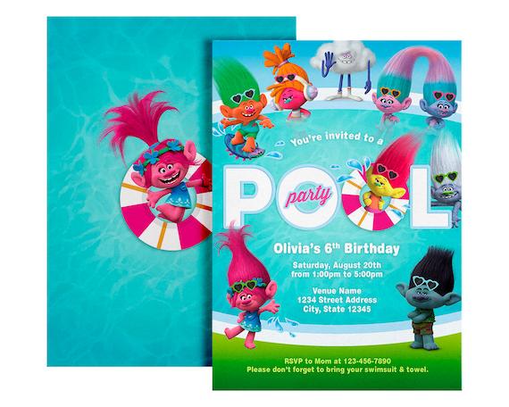 trolls pool party invitation trolls birthday invitation etsy