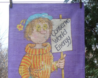 Conserve World Energy // Vintage Tea Towel // Wall Hanging // Hippie // Protest Art // Heal the World