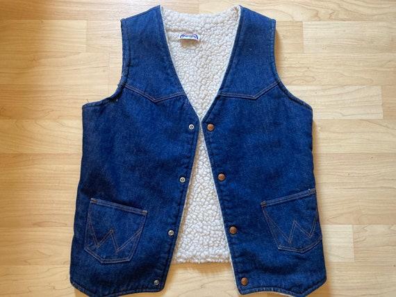 Vintage WRANGLER denim Sherpa vest jacket rainbow
