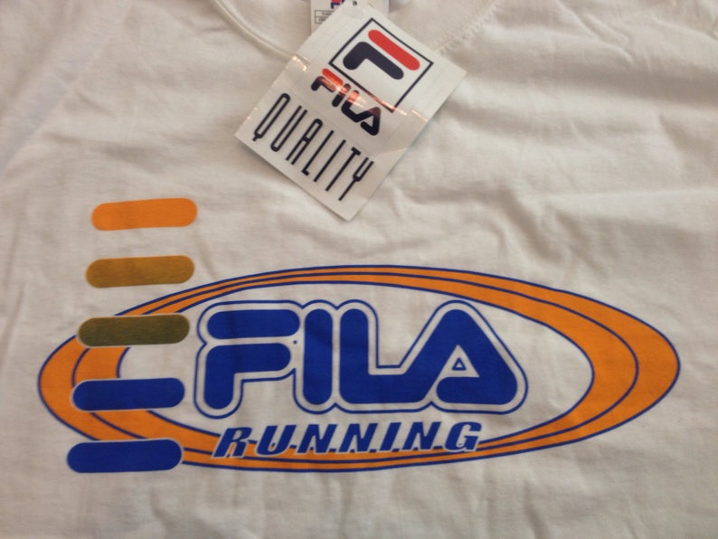 d9ef412335164 Vintage 90s FILA Running Promo Mens Large Big Log Spell Out