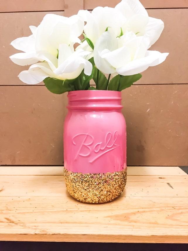 Pink And Gold Glitter Mason Jar Centerpieces Makeup Holder Pencil