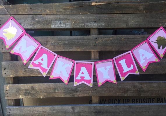 birthday banner unicorn birthday banner pink and gold name etsy