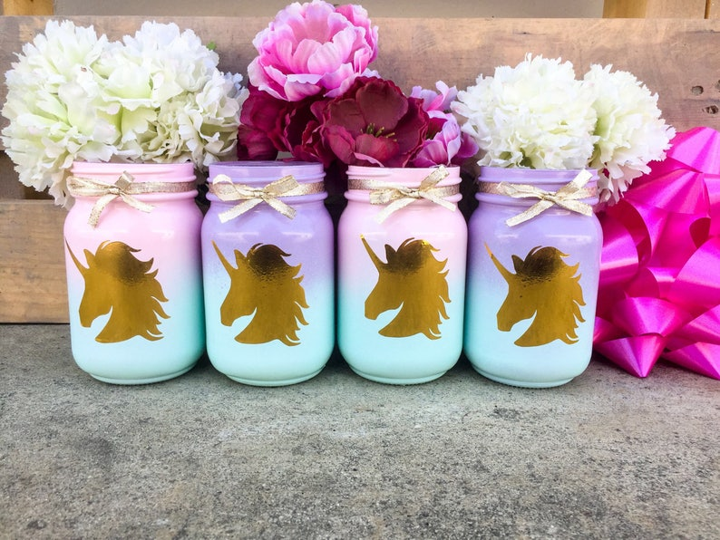 Set of 2. Unicorn mason jars. Unicorn party centerpieces. image 0