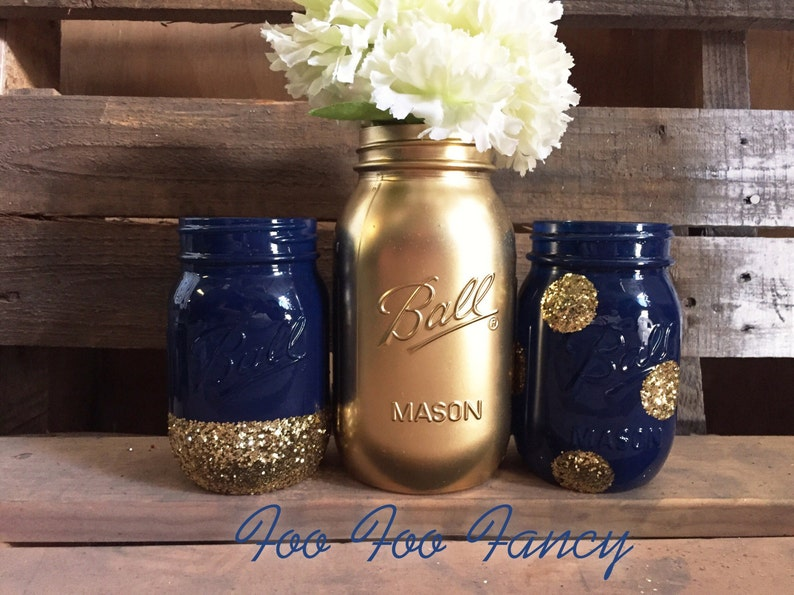 Set Of 3 Navy Blue And Gold Mason Jar Centerpieces Blue And Etsy