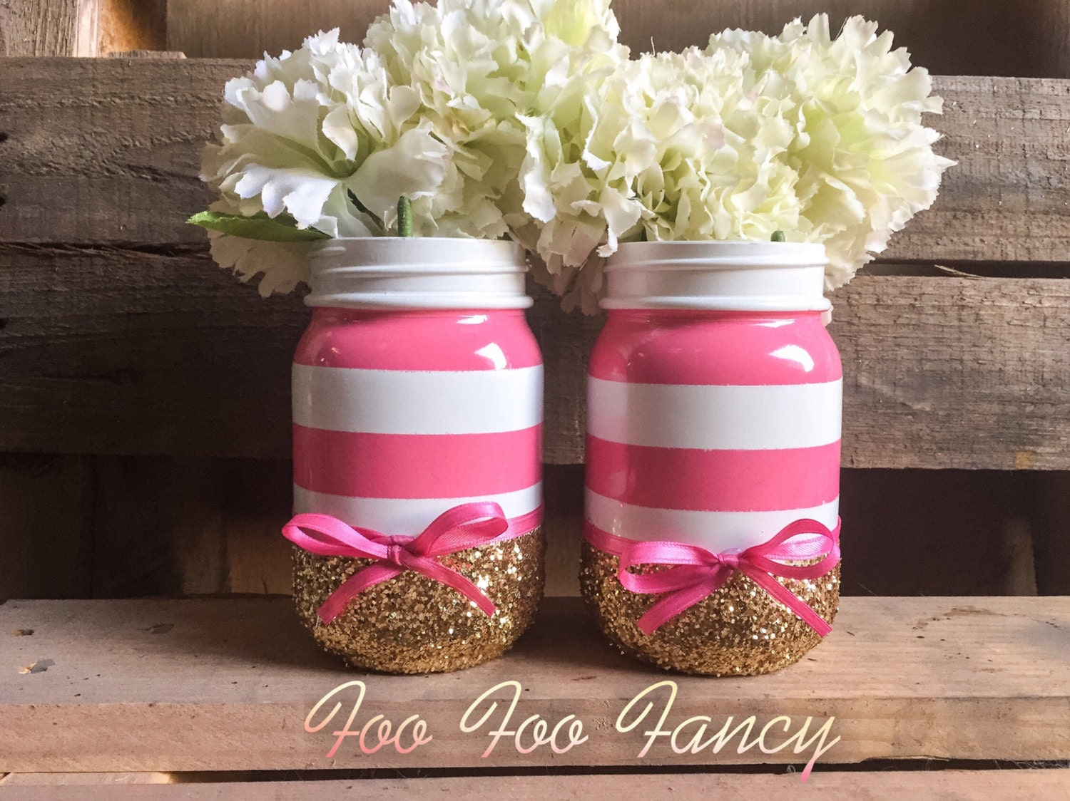 Pink white and gold mason jar centerpieces baby shower decor. | Etsy