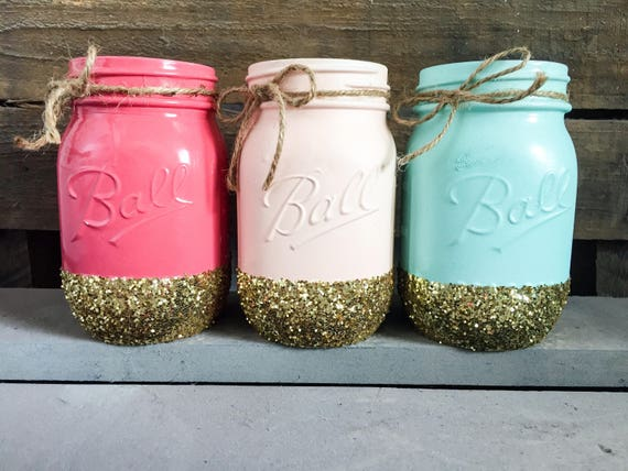 Pink, peach, mint and gold mason jars centerpieces. Mason jar party decor.  baby shower centerpieces. baby nursery decor