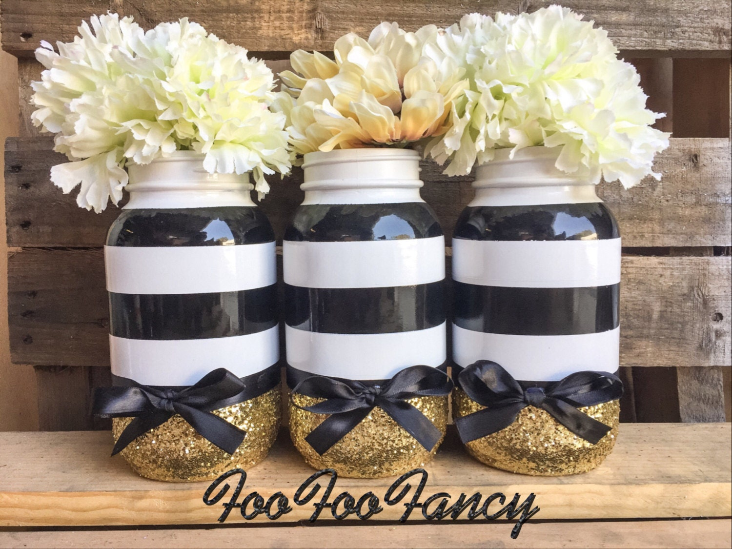 black white and gold mason jar black and white party decor etsy. Black Bedroom Furniture Sets. Home Design Ideas