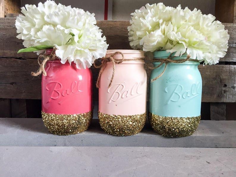 Pink Peach Mint And Gold Mason Jars Centerpieces Mason Jar Etsy