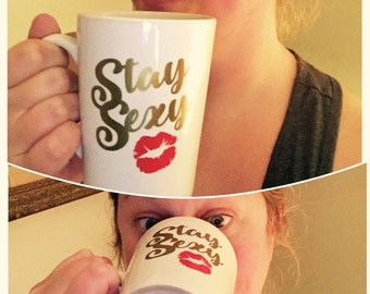 Stay Sexy. Don't Get Murdered. LEFTY Tapered mug. My Favorite Murder Inspired. Ready to ship.