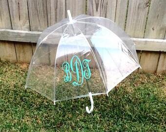 Adult Size Monogrammed Umbrella. Bubble Clear Umbrella. Personalized names. Rainy Days. Bridesmaid Gifts. Teacher presents. Birthday. Custom