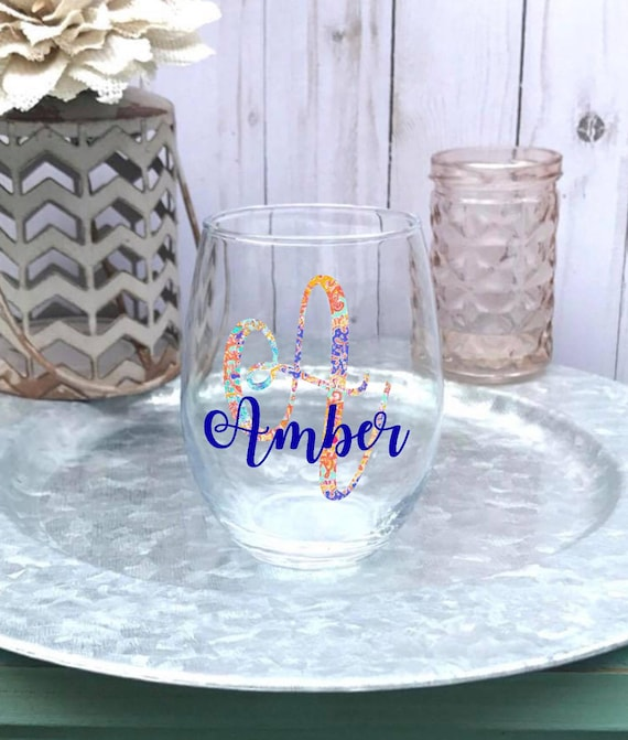 Floral Inspired Monogrammed Name Stemless Wine Glass Etsy