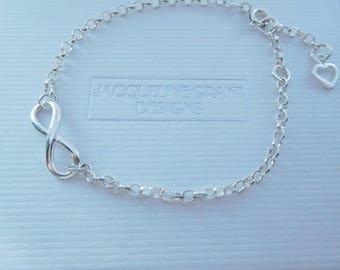 Silver Infinity Bracelet, Sterling Silver Infinity and Heart Bracelet, Eternity Bracelet, Adjustable Chain Bracelet, Eternal Love Bracelet