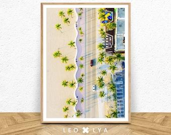 Aerial Beach Print, Beach Art Print, Digital Download, Palm Tree Print, Palm Beach, Modern Beach Print, Beach Photography, Beach Poster