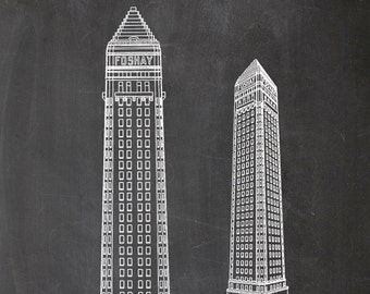 Building, Architecture, Wilbur Foshay, Patent, Print, Architecture, Print, A4, Skyscraper, Skyscraper, Drawing, Drawing