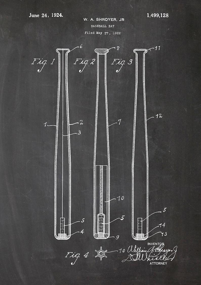 vintage sports gift for trainer patent Baseball bat racket baseball bat din A4 poster print print sports restaurant