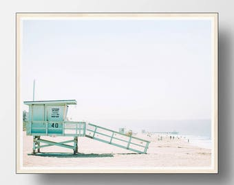 Beach Wall Art, Beach Print, Coastal Wall Art, Coastal Decor, Beach, Ocean Waves Print,  Beach Photography,  Lifeguard Tower,  Summer Decor