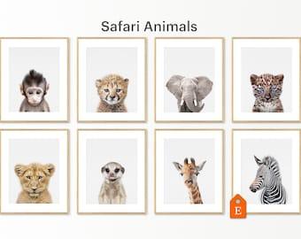 A custom list of 8 prints with animals from savanna in color. Created for the nursery décor is a safari. 16x20inc