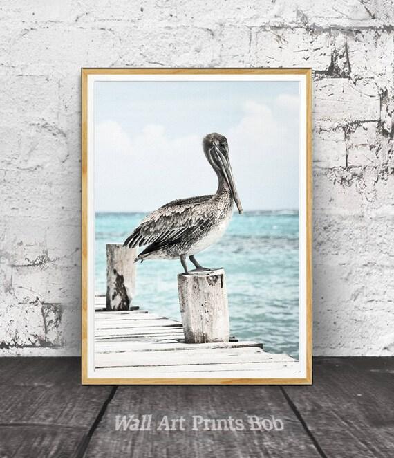 Beach Wall Art Beach Print Pelican Wall Art Beach Decor | Etsy