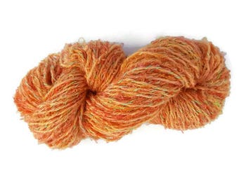 Peach wool art yarn, knitting yarn, crochet yarn, weaving yarn, mohair yarn, silk yarn, hand dyed yarn, handspun yarn