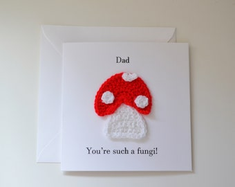 Handmade Crochet 'Funghi' Fathers Day Card