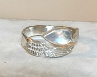 Angel Wing Ring with Rose Cut Rainbow Moonstone and Hammer Textured Band