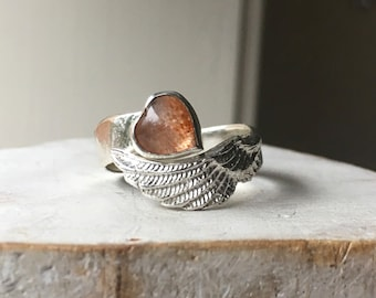 Sunstone 'Hearts and Angels' Ring with Silver Hammer Textured Wrap Band
