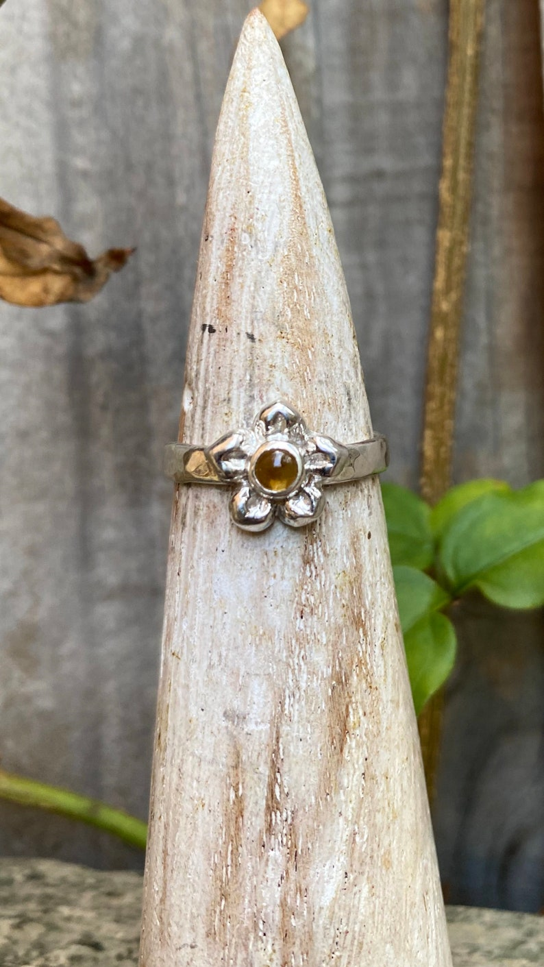 Sterling Silver with Hammer Textured Band Citrine Flower Ring