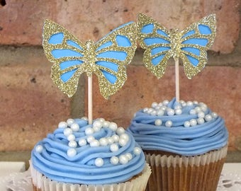 Cinderella Party, Butterfly Cupcake toppers, Birthday Decoration