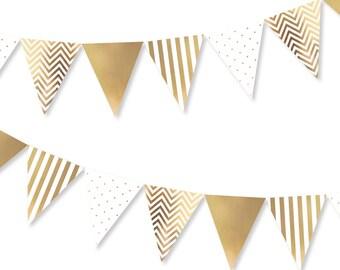 Gold Spots, Stripes & Chevron Bunting