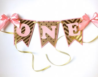 High Chair Banner, Gold Kraft and Pink, One Banner, Two Banner, Baby Shower, Birthday Decor, Pink and Gold Birthday, First Birthday Banner
