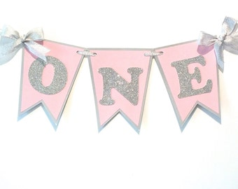 High Chair Banner, Silver and Pink, Silver and Blush, Baby Shower, Birthday Decor, Pink and Silver Birthday, First Birthday Banner