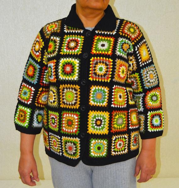 Gehaakte vacht jas, oma vierkante vacht, vrouwelijke vest, handgemaakte vacht, herfst jas